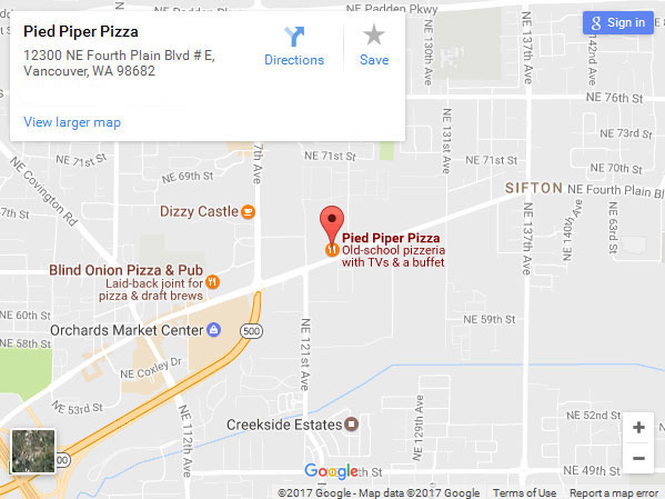 Google Map to Pied Piper Pizza Vancouver, WA